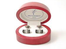 Smoke Diamond, Jet and Crystal cylinder Cufflinks by Ian Flaherty, SAVE!! £30%