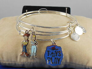 Disney Alex and Ani Silvertone TOY STORY 4 Two Expandable Wire Bracelet Set