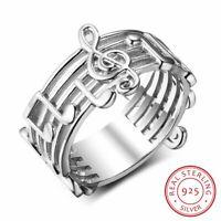 Echt 100% 925 Sterling Silber Ringe Musik Note Elegant für Damen Schmuck neu.