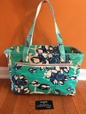 Chanel Blue Flowers Floral Purse Shoulder Bag Tote With Authenticity Card