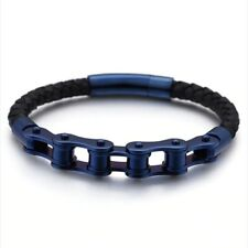 Bike Chain Leather Bracelet Bicycle Frosted Stainless Steel Motorcycle Jewelry