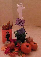 Dollhouse Miniature Halloween - Fall Pumpkins Ghost Topiary Gift Bag FallLleaves