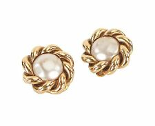 Auth VTG CHANEL Faux Pearl and Goldtone Twist Design Clip On Earrings #24824A