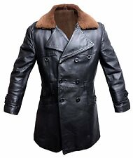 MILITARY ww2 leather coat sherpa POLICE motorcycle jacket old school VINTAGE 52