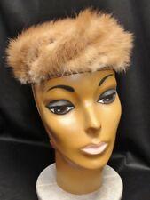 Vintage 60s Women's Light Brown FUR PILLBOX HAT - mink UNION MADE