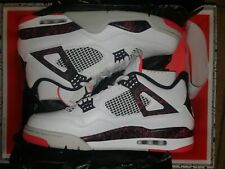 Air Jordan 4 Retro White/Black-Bright Crimson 308497-116 Men's Size 12