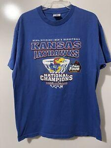 Kansas Jayhawks 2008 NCAA Mens Basketball National Champions T-Shirt Size L