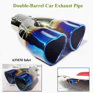 "63mm/2.5"" Stainless Steel Car Dual Exhaust Pipe Tip Muffler Cover Tail Throat"