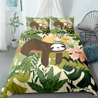 3D Cartoon Sloth Palm Leaf Bedding Set Doona Duvet Cover Pillow Case Quilt Cover