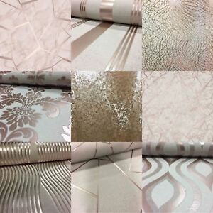 Rose Gold Wallpaper Various Designs Luxury Glitter Effect Metallic Modern Shiny