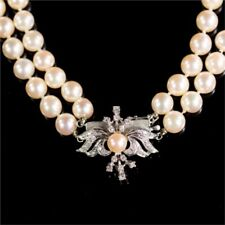 DIAMOND CLASP DOUBLE STRAND AKOYA PEARL NECKLACE