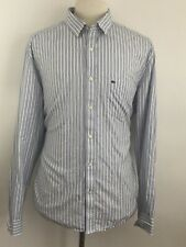 Men's LACOSTE Slim Fit Striped Blue White Long Sleeve Button Front Shirt Size 46