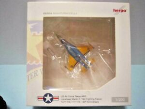 "HERPA DIECAST 1:200 SCALE "" US AIR FORCE TEXAS ANG FIGHTING FALCON "" # 555043"