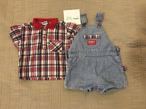 Vintage 80-90s OshKosh B'Gosh Overalls Outfit - Plaid And Denim - 24 Mos.