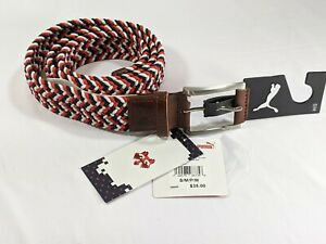 PUMA Pars and Stripes Stretch Weave Woven Golf Belt Small/Medium Red and Blue
