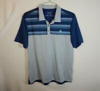 ADIDAS Mens Short Sleeve Regular Fit Polo Golf Shirt Blue Gray Size MEDIUM M