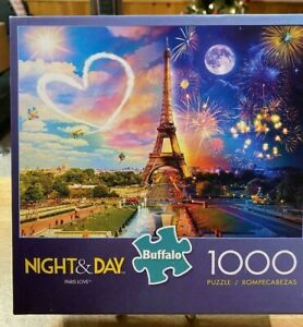 """Buffalo Puzzles """"Night & Day Paris Love"""" 1000 Piece Jigsaw Puzzle Complete"""