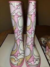 Coach Paisley Pink Multi Rain Mud Boots Women Size 6