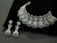Bridal Necklace Set Silver Diamond Wedding Bridesmaid Indian Jewelry Earrings