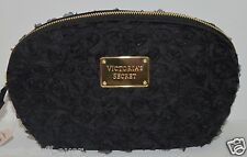 NEW VICTORIA'S SECRET BLACK ROSE BLOSSOM FLORAL MAKEUP COSMETIC CASE BAG CLUTCH