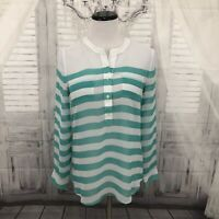 OLD NAVY Womens Size XS Green White Striped Sheer Long Sleeve Blouse Top B53