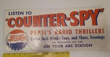 "☆***RARE VINTAGE""PEPSI:COLA 2 DOT PRE-1953 'COUNTER SPY'ABC RADIO PROGRAMME""SIGN"
