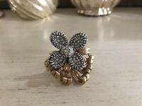 J Crew Floral Flower Gold Silver Crystal Rhinestone Pave Statement Ring Size 7