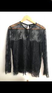 The Kooples Black Lace Tie Blouse Top M