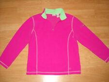 Girls L.L. Bean Quarter Zip Fleece Pullover Pink Lime Large L 14/16 Nwot New
