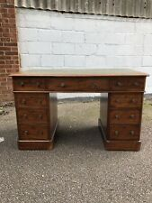 More details for victorian mahogany twin pedestal desk with green leather insert