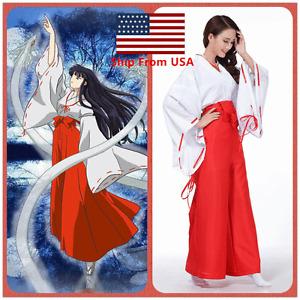 Inuyasha Shrine Maid Kikyo Miko Kimono Costume For Japan Anime Halloween Cosplay