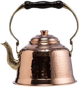 Thick 1mm Solid Hammered Copper Stovetop Teapot Tea Kettle Pot,Tin Lined,1.6Qts