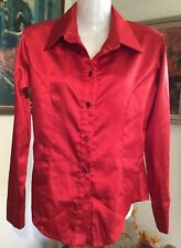 Fabulous Tailored 80s Rockabilly retro Glam Red Satin Wide Collar Shirt S/M