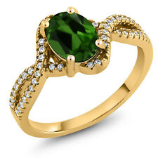 1.78 Ct Oval Green Chrome Diopside 18K Yellow Gold Plated Silver Ring