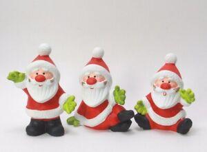 Christmas Tree Ornament Ceramic Hand Painted Santa Shelf Sitter LOT