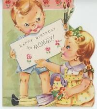 VINTAGE 1940'S BOY GIRL PAINT BRUSHES REDHEAD RAG DOLL MOMMY BIRTHDAY CARD PRINT