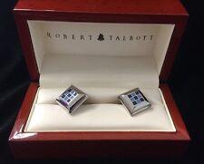 Robert Talbott Cufflinks Wood Box Silver Square Diamond Blue Checkerboard