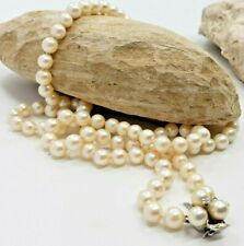 """Akoya Cultured Pearls Collar Necklace -14kt White Gold clasp with Diamonds 28"""""""