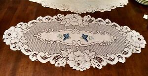 Heritage Lace Oval Ecru Doily with Blue Flowers & Butterflies