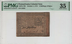 OCTOBER 1 1773 2 SHILLINGS 6 PENCE PENNSYVANIA COLONIAL NOTE PA-165 PMG VF 35