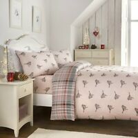 "Fusion Christmas ""Robin"" 100% Brushed Cotton Reversible Duvet Cover Bed Set Pink"