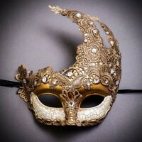 GOLD Women Sexy Lace Mask Party Masquerade Half Face Venetian Mardi Gras Costume