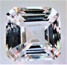 Asscher Square 12 x 12mm 10.2 ct Natural White Sapphire Brilliant Solitaire Cut