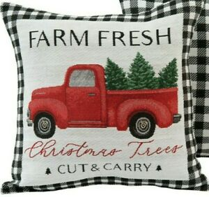 "Farm Fresh RED TRUCK Christmas Pillow USA 17"" Black White Natural Buffalo Plaid"