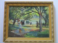 JOHN JENSEN OIL PAINTING  IMPRESSIONISM 1950'S AMERICAN LISTED COASTAL LANDSCAPE