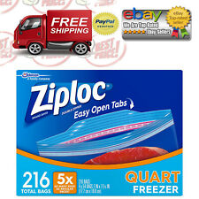 Ziploc Easy Open Tab Double Zipper Quart Freezer Food Storage Bags - 216 ct.