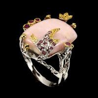 Handmade 12.44ct Pink Opal Rhodolite Garnet Ruby 925 Sterling Silver Ring Size 8