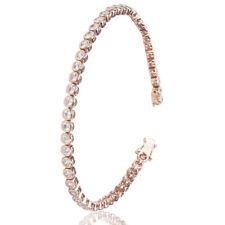 Bracciale tennis cipollina mm 4 in argento 925 placcato oro rosa con zirconi