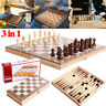 3in1 Large FOLDING WOODEN CHESS SET Board Game Checkers Backgammon Draughts Toys