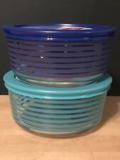 2 NEW Pyrex Stripe 4 Cup Storage Bowls with Lids Blue Turquoise